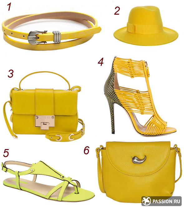 1 - пояс Jane's Story, 2 - шляпа Philip Treacy, 3 - сумка Jimmy Choo, 4 - обувь Jimmy Choo, 5 - обувь Longchamp, 6 - сумка Marimann
