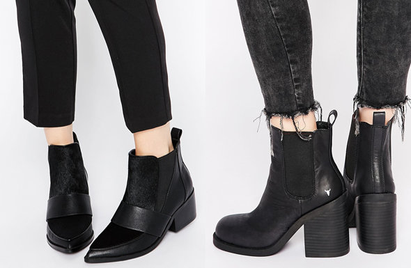 ASOS RUN AWAY Leather Mix Pointed Chelsea Ankle Boots, Windsor Smith Mitey Leath