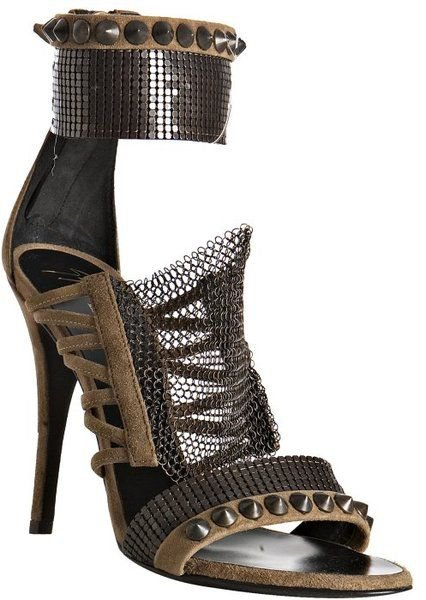Natural Khaki Suede Chainmail Sandals